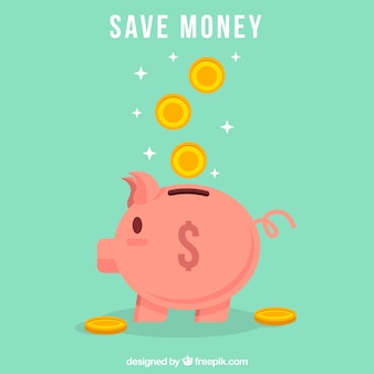 Green background of piggy bank with coins