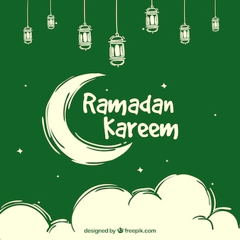Green background of ramadan kareem with moon and clouds