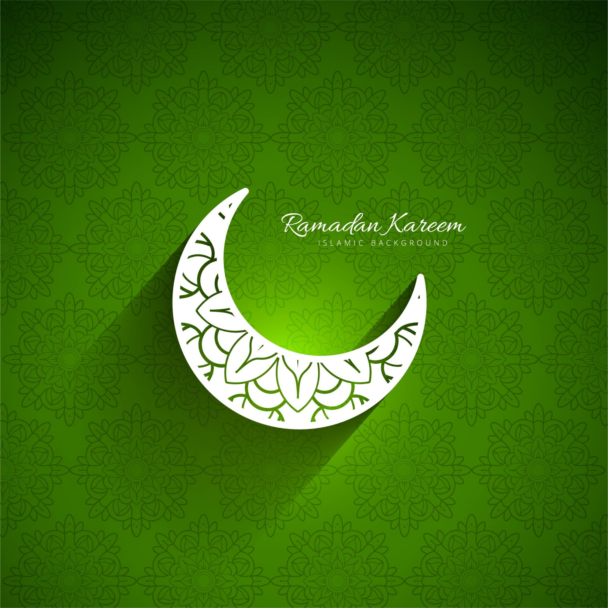 Green background of ramadan kareem with moon