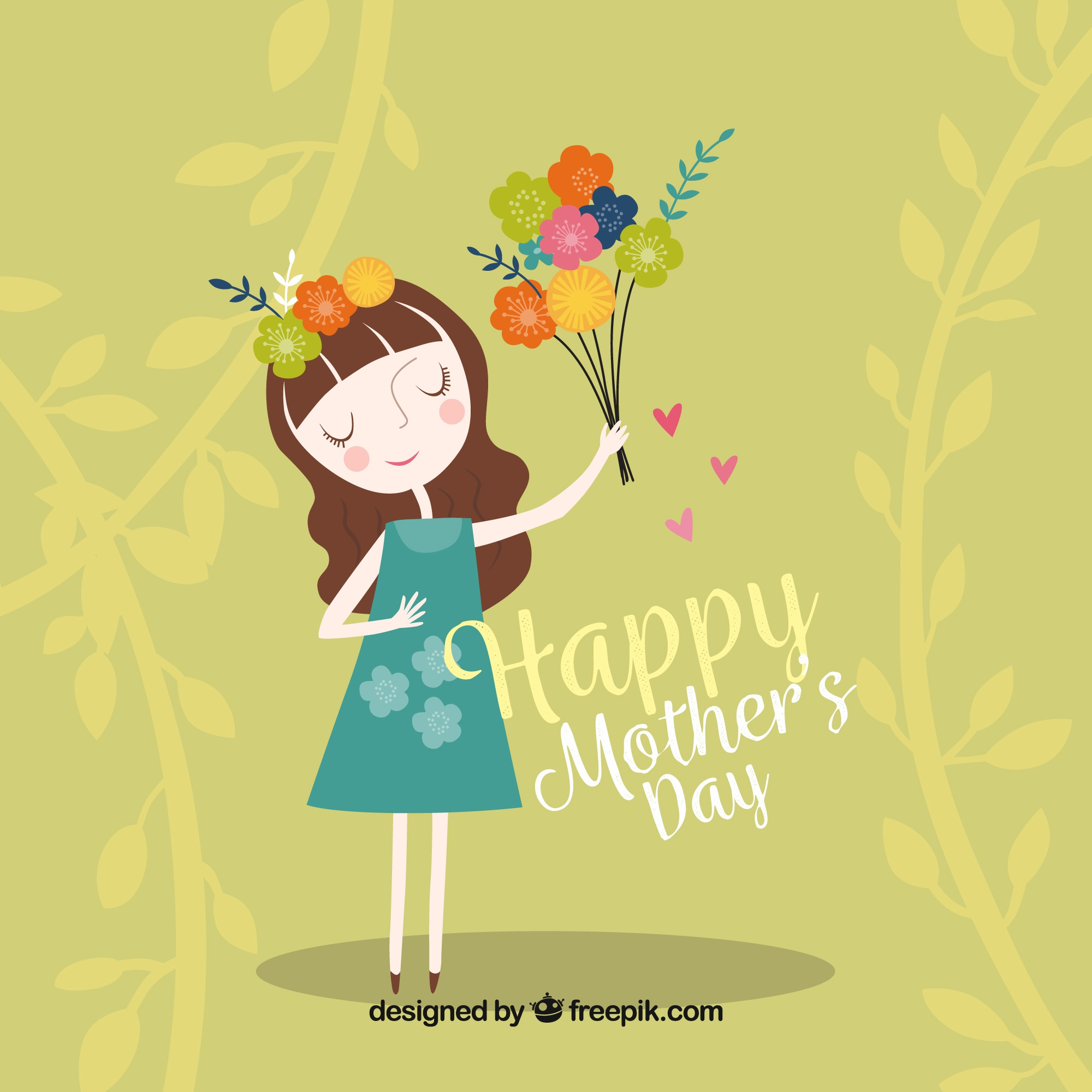 Green background of woman with flowers for mother's day