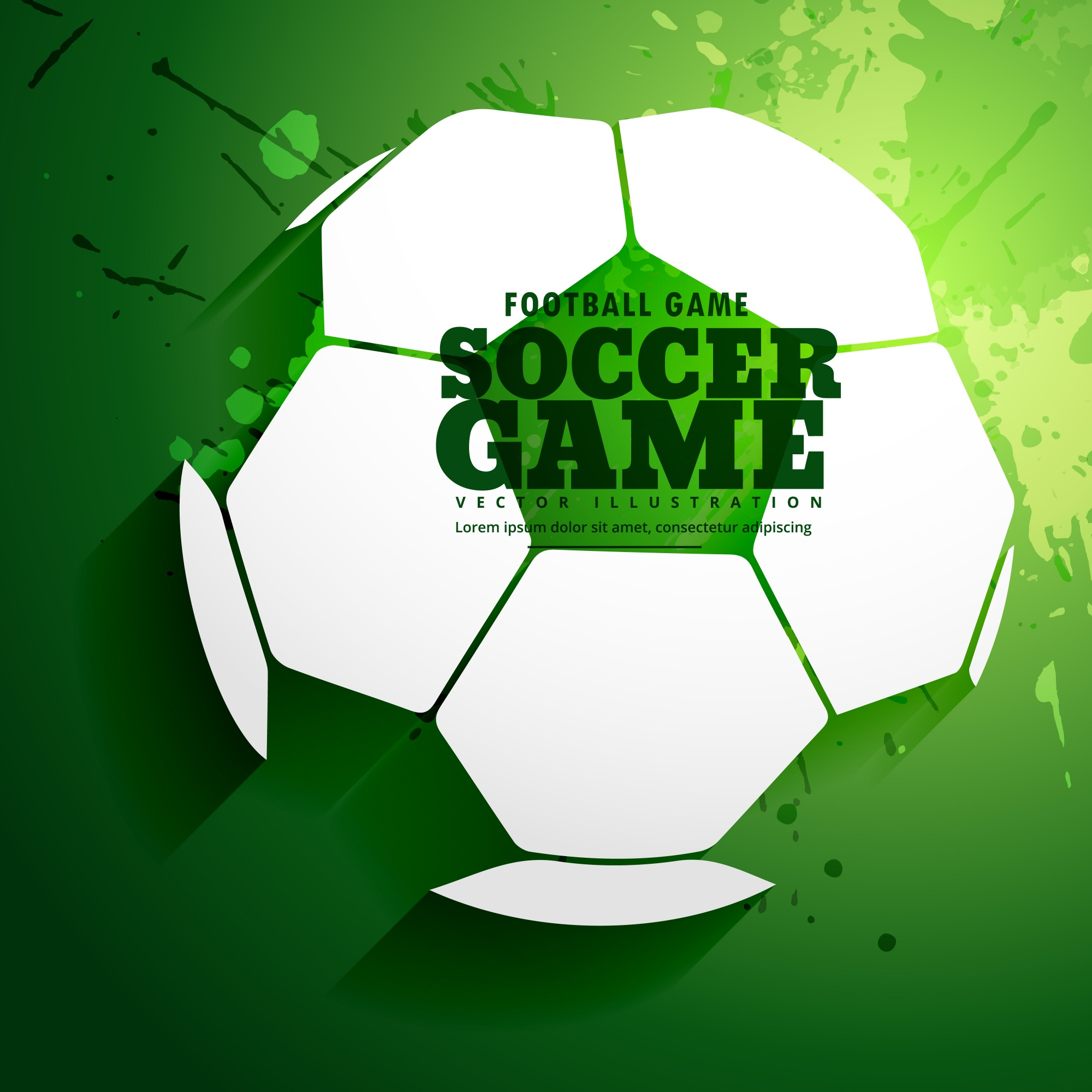 Green background with a soccer ball