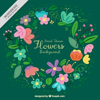 Green background with colorful flowers