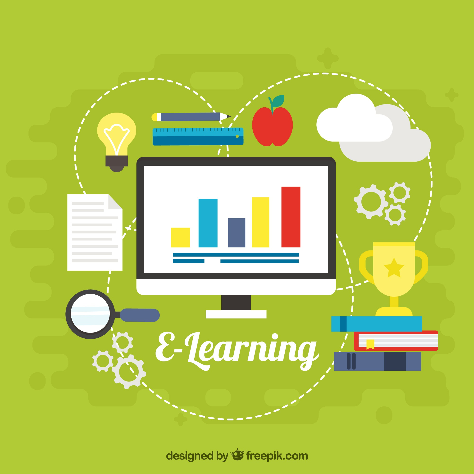 Green background with computer and digital learning elements