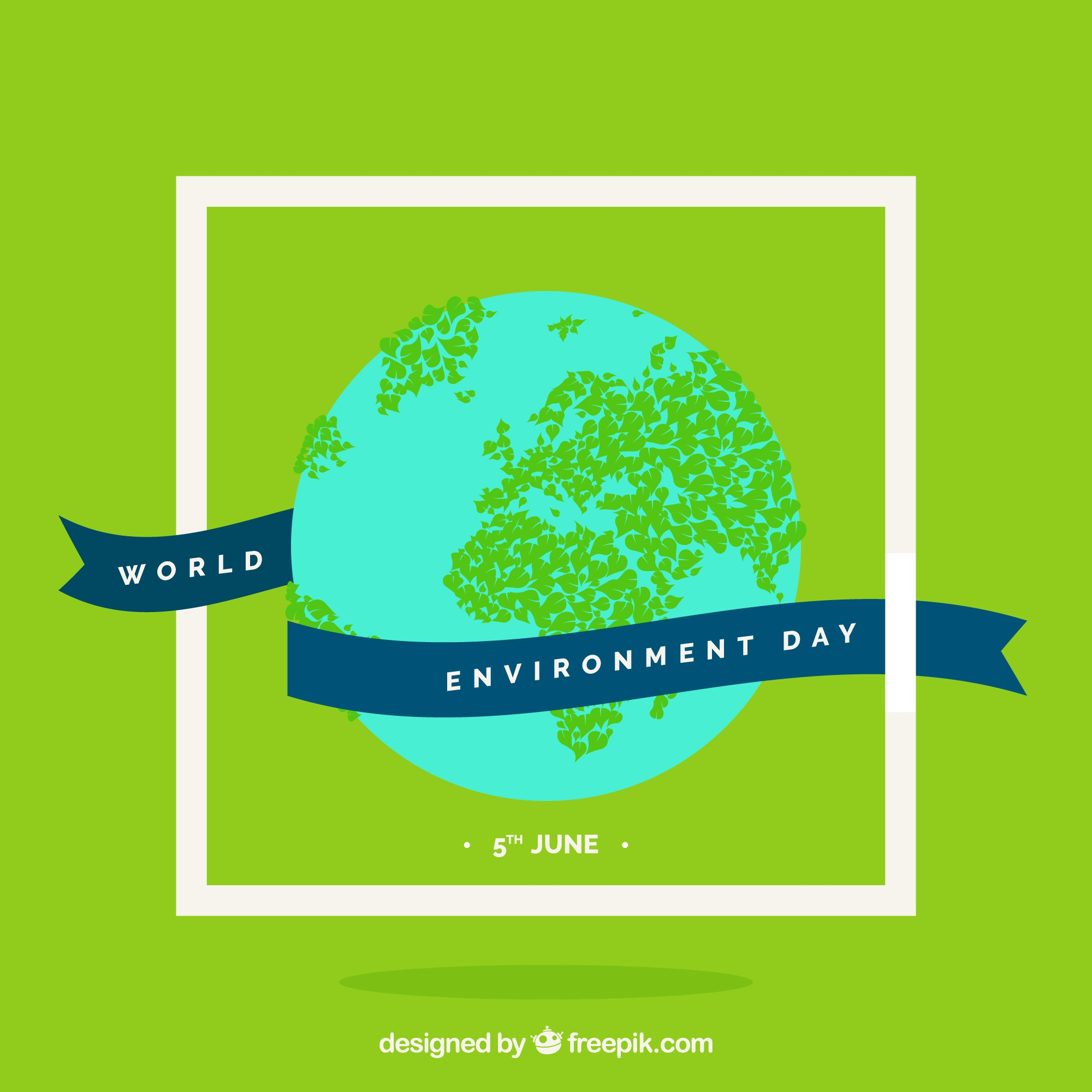 Green background with earth and ribbon for world environment day