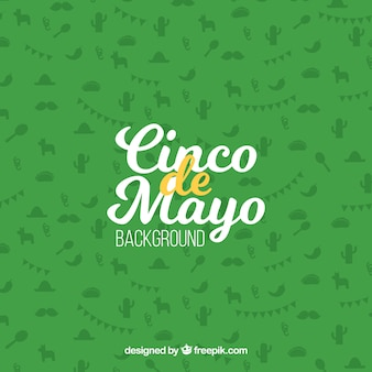 Green background with item silhouettes for may five