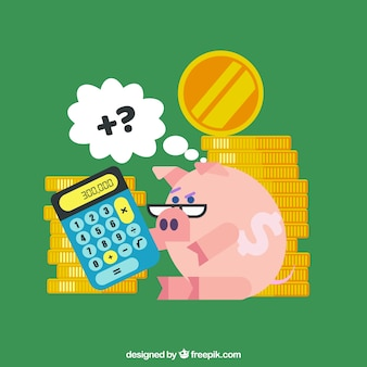 Green background with piggy bank and coins