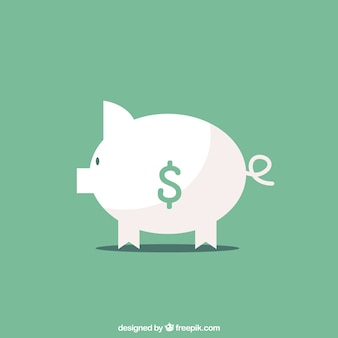 Green background with piggy bank in flat design
