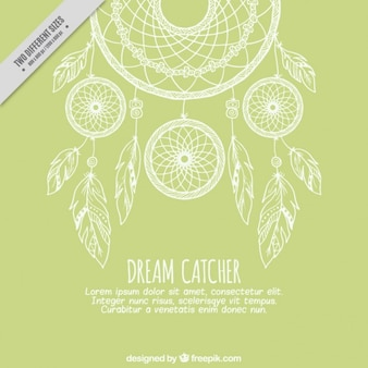Green background with sketches dreamcatcher