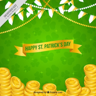 Green background with st. patrick's day coins