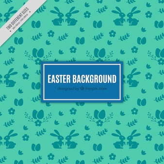 Green background with vintage easter elements