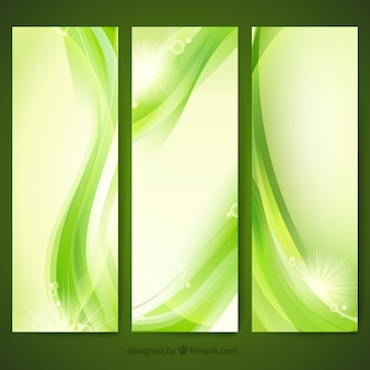 Green banners in abstract style