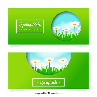 Green banners with daisies