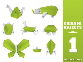 Green Beautiful Origami Vectors