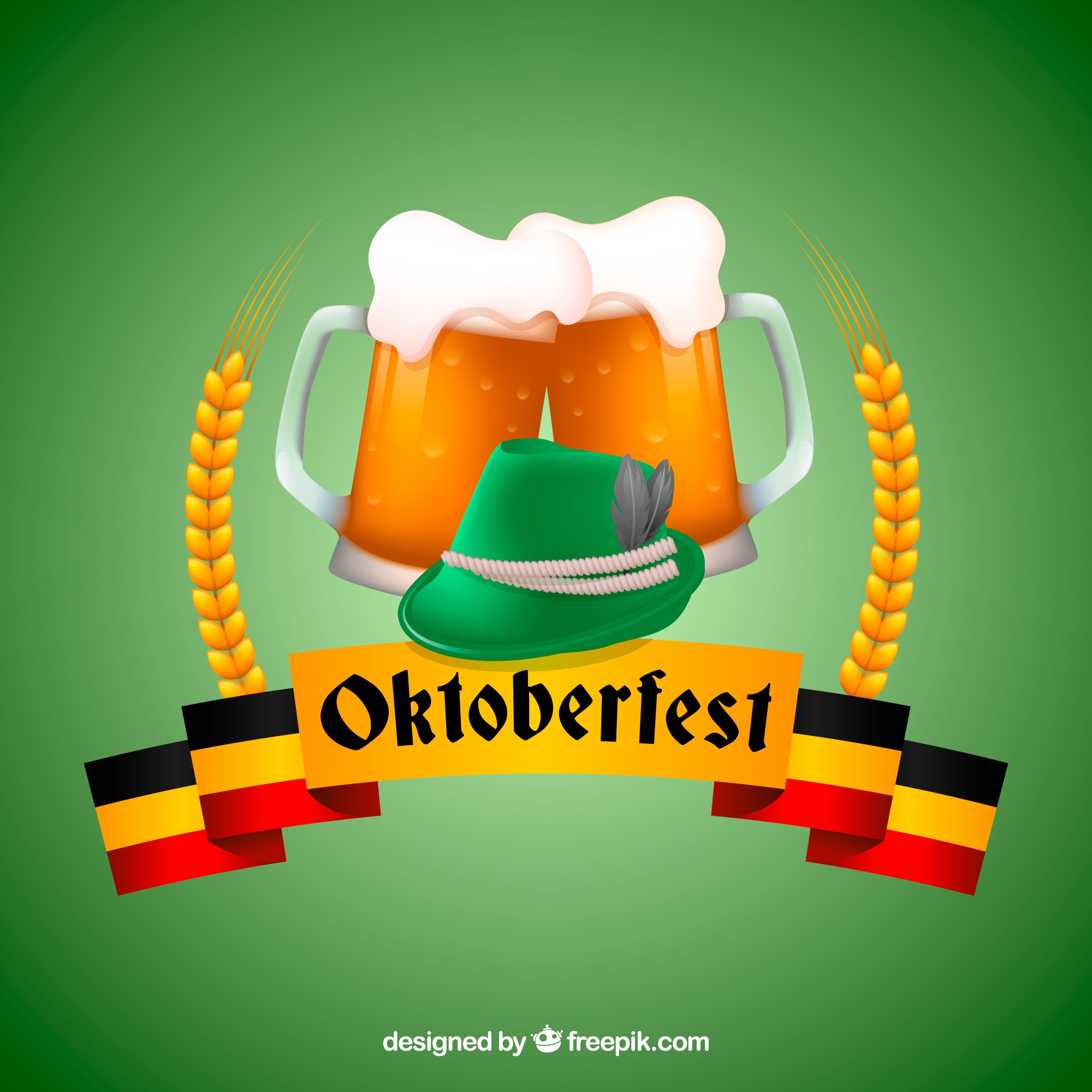 Green beers background and oktoberfest ribbon