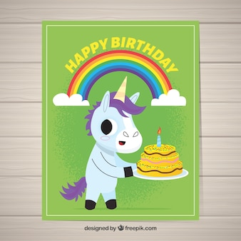 Green birthday card with a happy unicorn