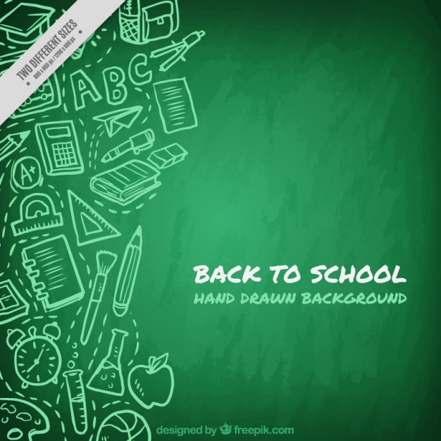 Green blackboard background with drawings