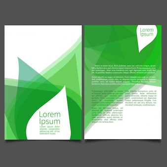 Green brochure with abstract leaves