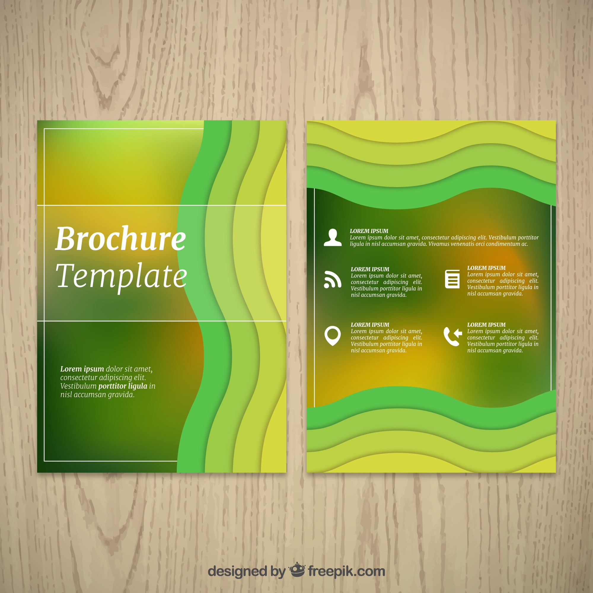 Green brochure with wavy shapes