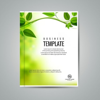 Green business booklet with leaves