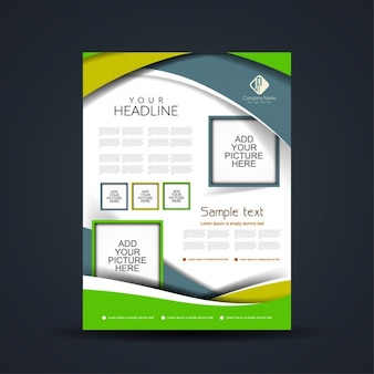 Green business brochure with abstract shapes and picture frames