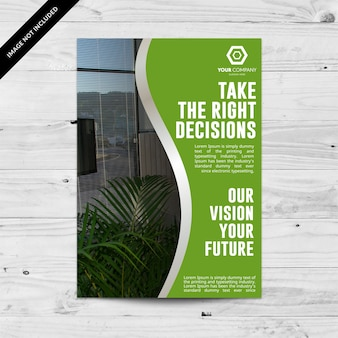 Green business brochure with silver details