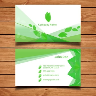 Green business card template with leaves