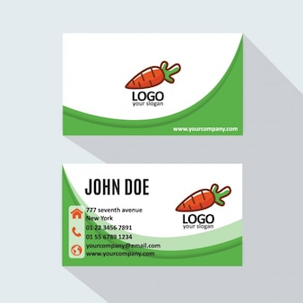 Green business card with a carrot