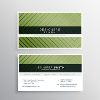 Green business card with elegant ornaments