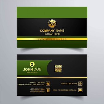 Green business card with gold lines