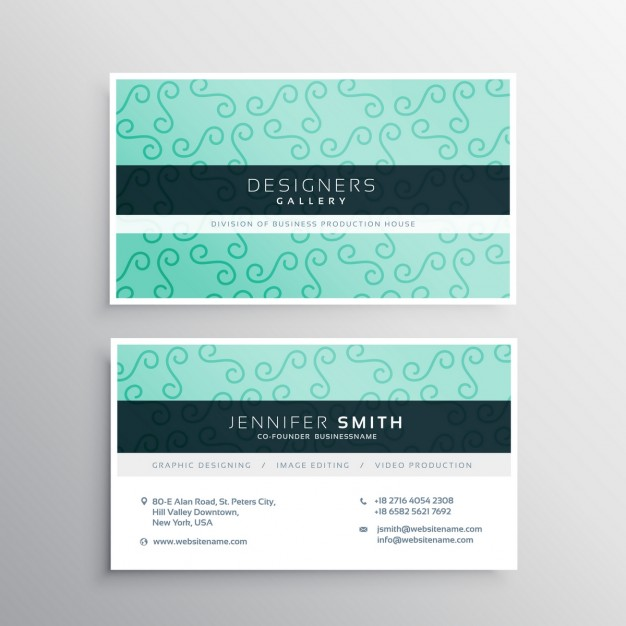 Green business card with ornamental shapes