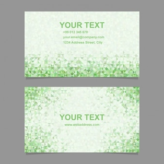 Green business card with polygonal shapes