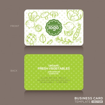 Green business card with vegetables