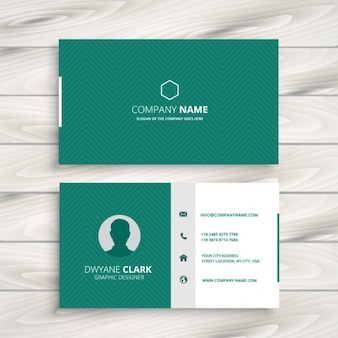 Green business card with zigzag pattern