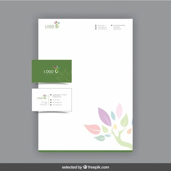 Green business stationery with leaves