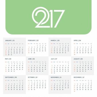 Green calendar 2017