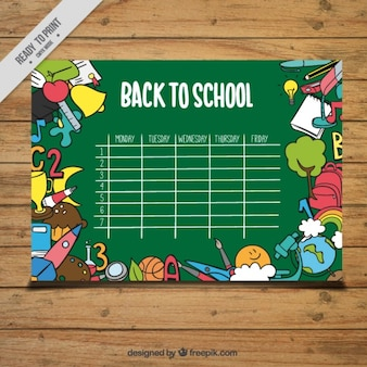 Green calendar for back to school