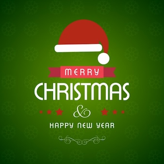 Green christmas background and santa claus hat