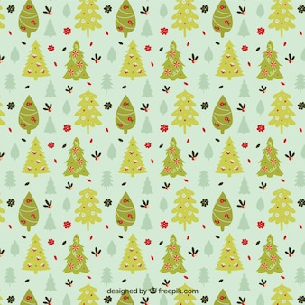 Green christmas trees pattern