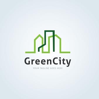緑の都市ロゴ。クリエイティブな都市ロゴテンプレート。