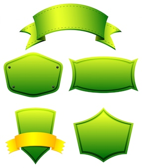 Green color banners in different shapes