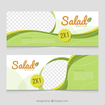 Green cooking banners with wavy shapes