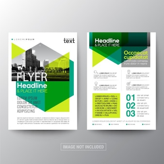 Green corporate brochure with geometric shapes