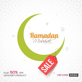 Green Crescent Moon on floral design decorated background for Ramadan Mubarak. Can be used as Sale poster, banner or flyer for Islamic Festivals.
