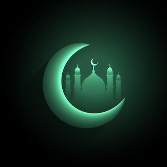 Green crescent moon with mosque background