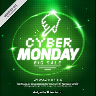 Green cyber monday background with shiny circle