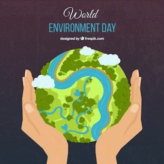 Green earth and hands background