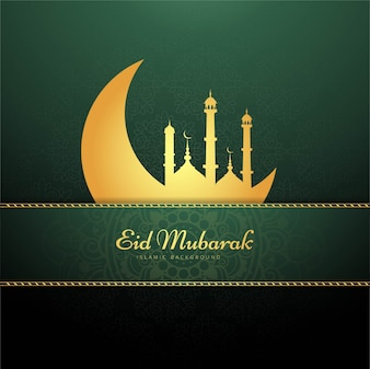 Green eid mubarak background