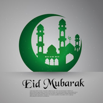 Green eid mubarak background