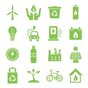 Green environment icons set