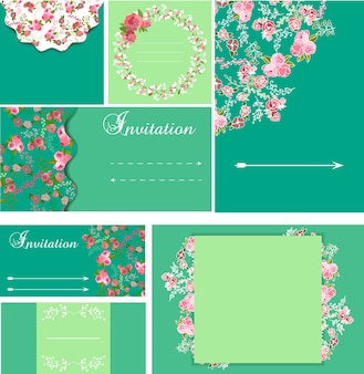 Green floral card collection